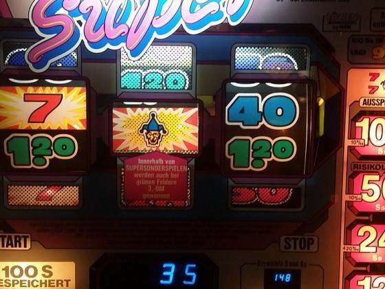 Jackpotauslösung Jacky Super 100 SS +  100 Spiele gespeichert